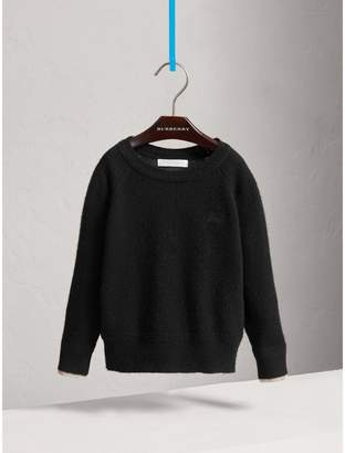 Burberry Check Detail Cashmere Sweater