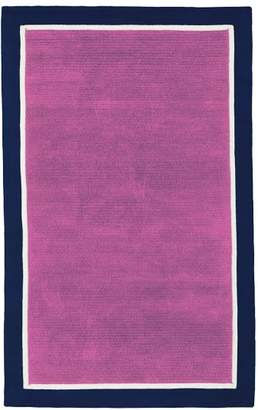 Pottery Barn Teen Capel Border Rug, 8'x10', Orchid/White/Royal Navy