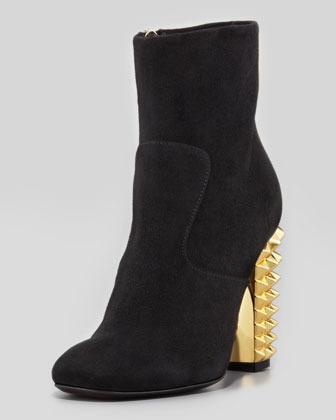 Fendi Studded-Heel Suede Ankle Boot