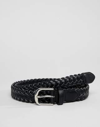 Monki faux leather belt in black