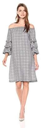 MSK Women's Off The Shoulder Puff Sleeve Dress with Pearl Details