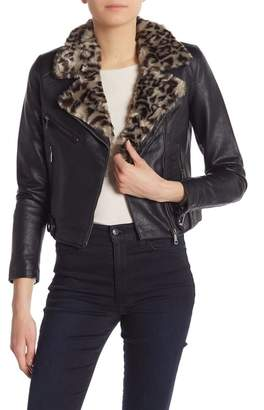 Vigoss Leopard Faux Fur Trim Moto Jacket