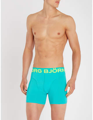 Bjorn Borg Pack of two Samy Neon classic-fit stretch-cotton boxer briefs