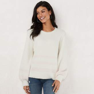 Lauren Conrad Women's Fuzzy Balloon-Sleeve Sweater