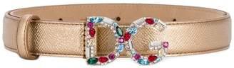 Dolce & Gabbana crystal logo buckle saffiano belt