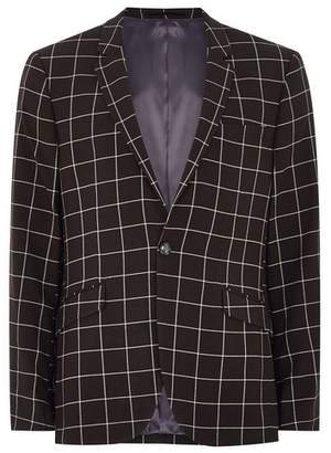 Topman Mens Black And White Windowpane Check Skinny Suit Jacket