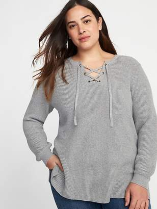 Old Navy Lace-Up Neck Plus-Size Sweater