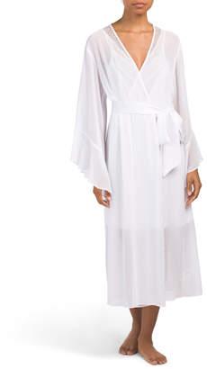 Long Satin Chiffon Robe With Lace