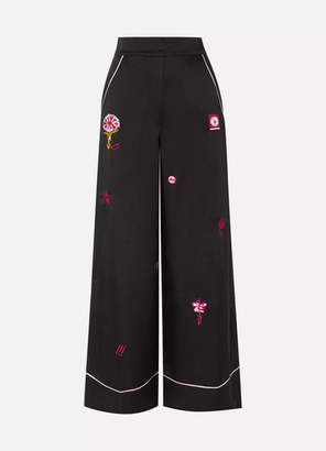 Temperley London Georgie Embroidered Satin Wide-leg Pants