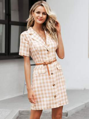 Shein Simplee Button Front Gingham Blazer Dress Without Belt