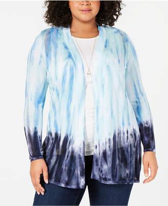 Belldini Plus Size Ombre Open-Front Cardigan