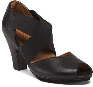 Cross Strap Leather Dress Heels