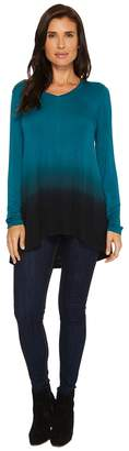 Mod-o-doc Rayon Spandex Jersey Dip-Dye Back Pleat Long Sleeve Tee Women's T Shirt