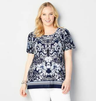 Avenue Plus Size Border Scroll Top With Necklace