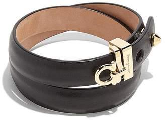 Salvatore Ferragamo Gancini Wraparound Leather Bracelet