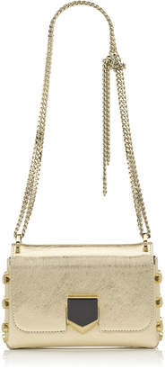 Jimmy Choo LOCKETT MINI Gold Etched Metallic Spazzolato Shoulder Bag