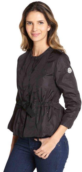 Moncler black nylon 'Afrodite' peplum waist collarless coat