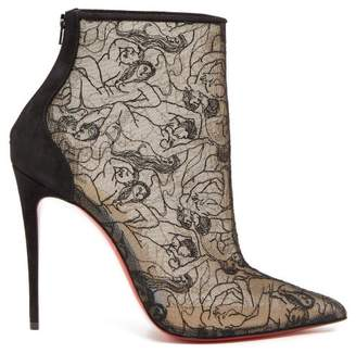 Christian Louboutin Psybootie 100 Embroidered Mesh Ankle Boots - Womens - Black