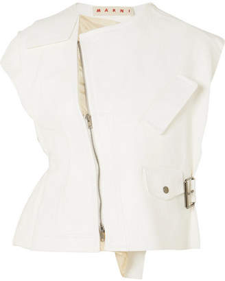 Marni (マルニ) - Marni - Silk Satin-paneled Leather Vest - White