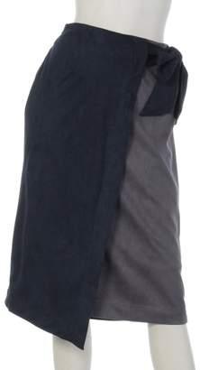 clear (クリア) - clear配色フェイクスウェードラップスカート