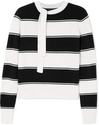Marc Jacobs Tie-detailed Striped Wool Sweater - Ivory