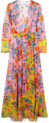 Leone we are Floral-print Silk-chiffon Robe - Pink