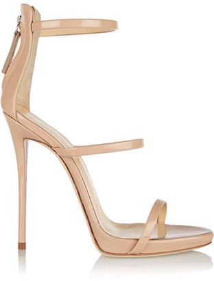 Giuseppe Zanotti - Harmony Patent-leather Sandals - Beige $850 thestylecure.com