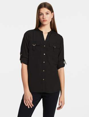Calvin Klein solid d-ring roll-up sleeve top