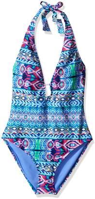 LaBlanca La Blanca Women's Global Perspective Plunge Halter One Piece Swimsuit