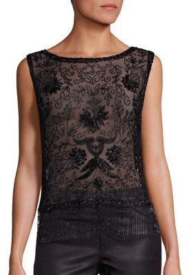 Polo Ralph Lauren Beaded Tulle V-Back Top $398 thestylecure.com