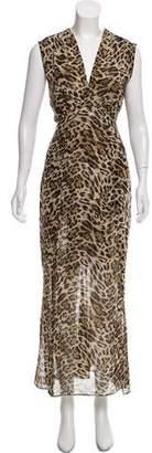 L'Agence Animal Print Maxi Dress