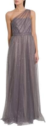 Marchesa One Shoulder Floor Length Dress