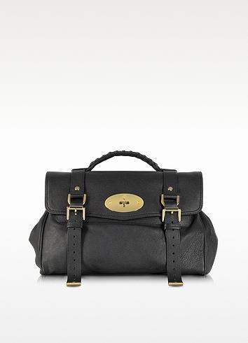 Mulberry Alexa Black Polished Buffalo Leather With Soft Gold Satchel Bag