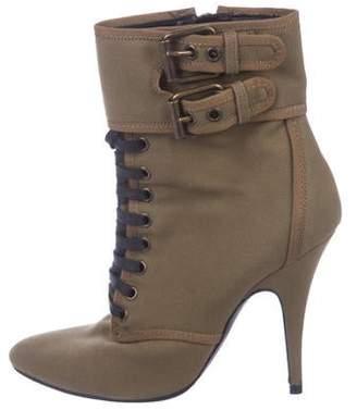 Balmain Canvas Lace-Up Boots