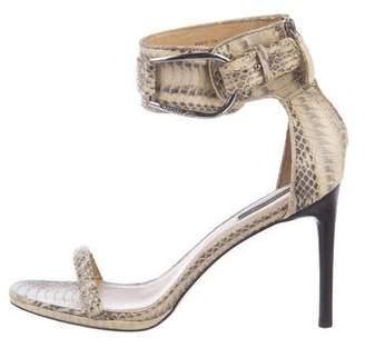 Rachel Zoe Snakeskin Ankle Strap Sandals