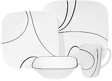 Corelle Square Simple Lines 16-pc Dinnerware Set