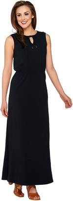 Isaac Mizrahi Live! Regular Split V-neck Knit Maxi Dress
