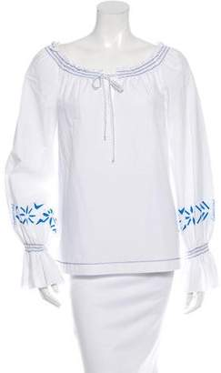 Philosophy di Alberta Ferretti Embroidered Peasant Top
