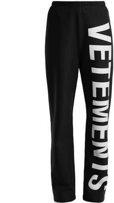 Logo Cotton Jersey Track Pants - Womens - Black