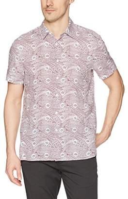 Perry Ellis Men's Short Sleeve Printed Linen Shirt
