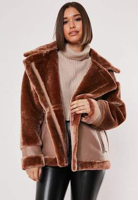 Missguided Brown Faux Fur Aviator Coat, Apricot