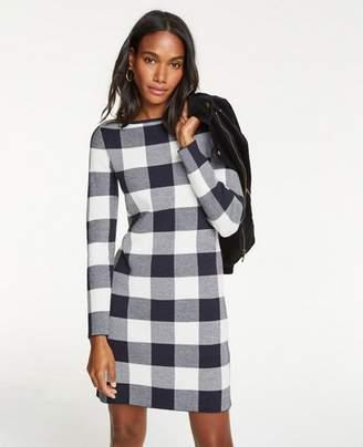 Ann Taylor Tall Buffalo Plaid Sweater Dress