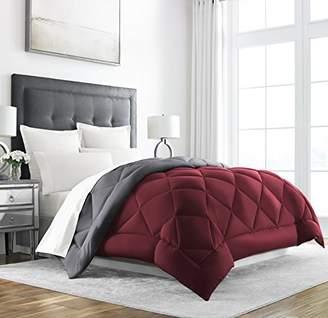 +Hotel by K-bros&Co Sleep Restoration Goose Down Alternative Comforter - Reversible - All Season Hotel Quality Luxury Hypoallergenic Comforter -King/Cal King - Burgundy/Grey