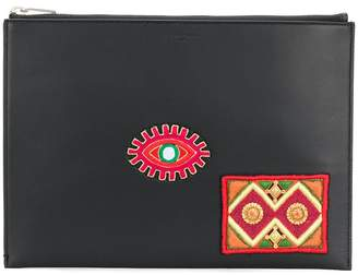 Saint Laurent embroidered patch document holder