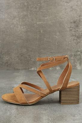 Madden Girl Leexi Chestnut Suede High Heel Sandals $49 thestylecure.com