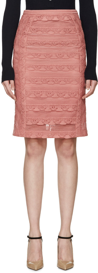 Burberry Prorsum Pink Tiered French Lace Skirt