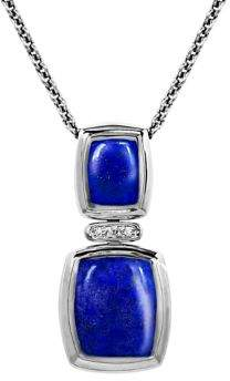 Lord & Taylor Diamond, Lapis & Sterling Silver Pendant Necklace
