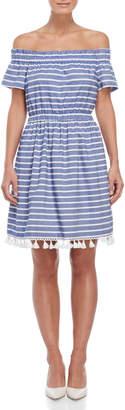 Eliza J Striped Off-the-Shoulder Tassel Dress