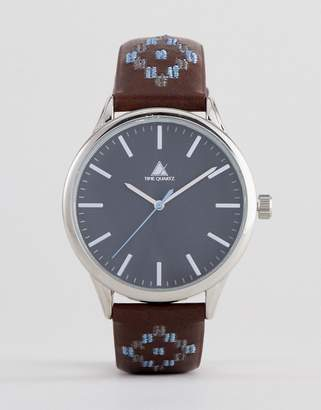Asos DESIGN Watch In Brown Faux Leather With Contrast Geo-Tribal Stitching