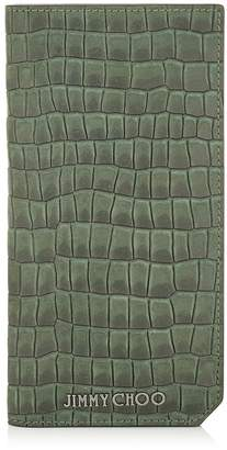 Jimmy Choo CLIFFORD Army Croc Printed Nubuck Long Bi Fold Wallet